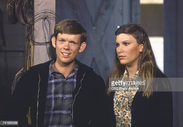 British actor Jon Walmsley and Judy Norton Taylor on the set of an episode of the television family drama series 'The Waltons' entitiled 'The...