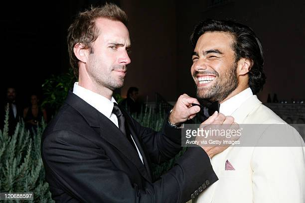 British actor Joseph Fiennes presenter of Starlite Gala with the polo player Diego Osorio during the Starlite Charity Gala 2011 produced by Avory...