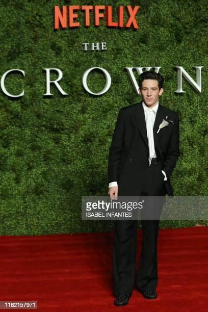 British actor Josh OConnor poses on the red carpet upon arrival for the World premiere of the television series The Crown Series 3 in London on...