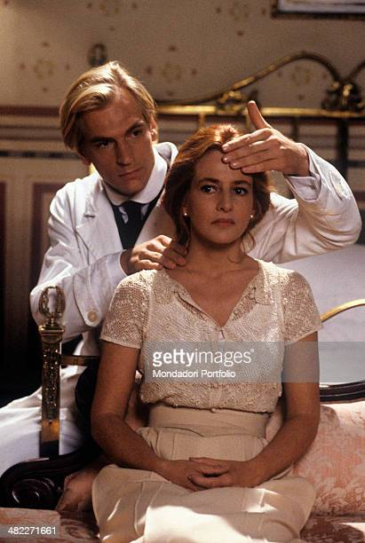 British actor Julian Sands examining Italian actress Giuliana De Sio in the film The wicked. Italy, 1991