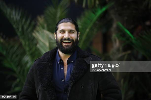 British actor Kayvan Novak poses on the carpet arriving to attend the world premiere of the film Early Man in London on January 14 2018 / AFP PHOTO /...