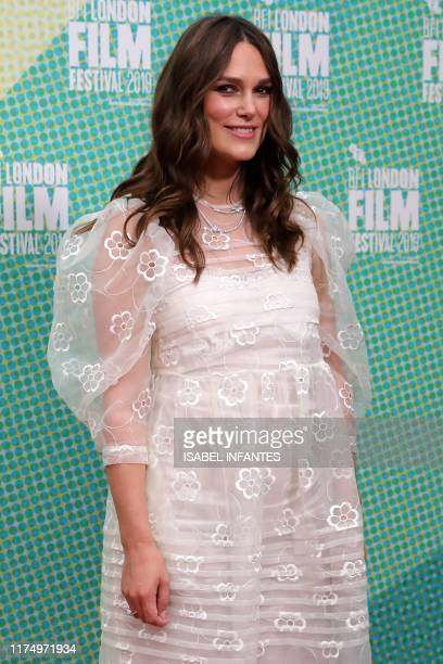 British actor Keira Knightley poses on the red carpet upon arrival for the European premiere of the film Official Secrets in London on October 10 2019