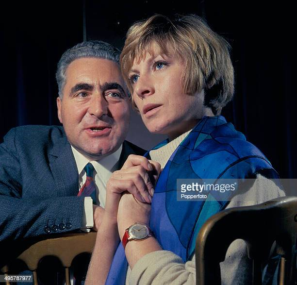 British actor Leslie Sands pictured with actress Ann Lynn in a scene from the television drama series 'The Confession' in 1968