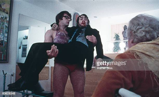 British actor Malcolm McDowell is rescued by an old acquaintance in a scene from 'A Clockwork Orange' 1971 Patrick Magee plays his wheelchairbound...