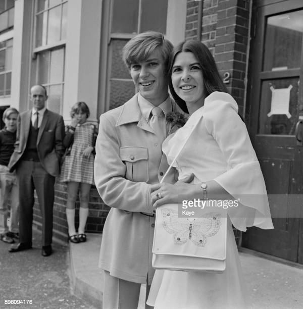 British actor Malcolm McFee with his wife schoolteacher Margaret Kearnan on their weeding day at Newham Registrar Office Stratford London UK 30th...