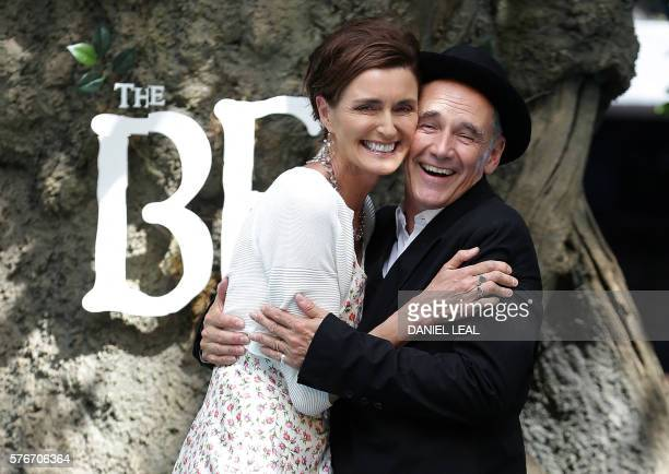 British actor Mark Rylance poses with British screenwriter Lucy Dahl daughter of the BFG author Roald Dahl as they arrive to attend the UK premeiere...