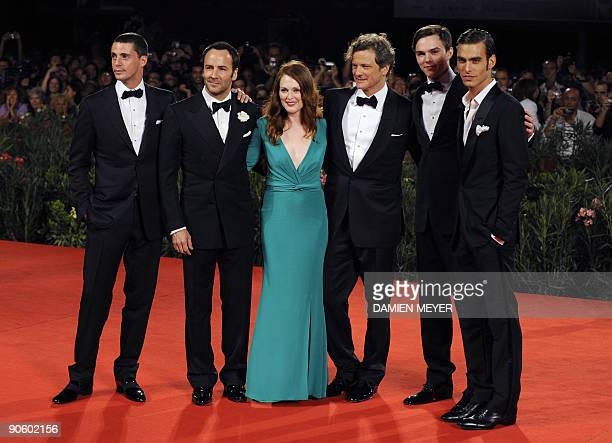 British actor Matthew Goode US director Tom Ford US actress Julianne Moore British actor Colin Firth British actor Nicholas Hoult and model Jon...