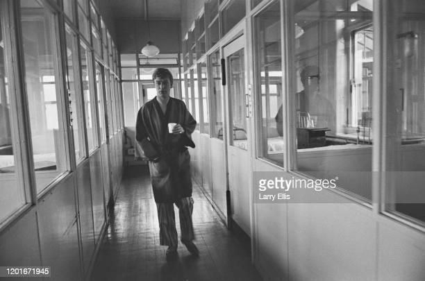 British actor Michael Caine during filming of the sanatorium scenes in 'Alfie' at York House in Twickenham London England 11th June 1965 'Alfie' is...