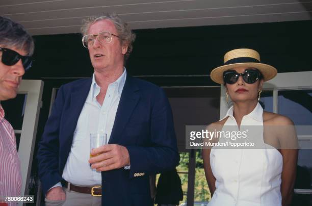British actor Michael Caine with his wife Shakira at the first match to be played at John Paul Getty Jr's new cricket ground on his Wormsley Park...