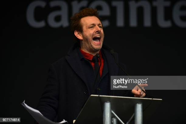 British actor Michael Sheen gives a speech during the March4Women event London on March 4 2018 Demonstrators march through central London today with...