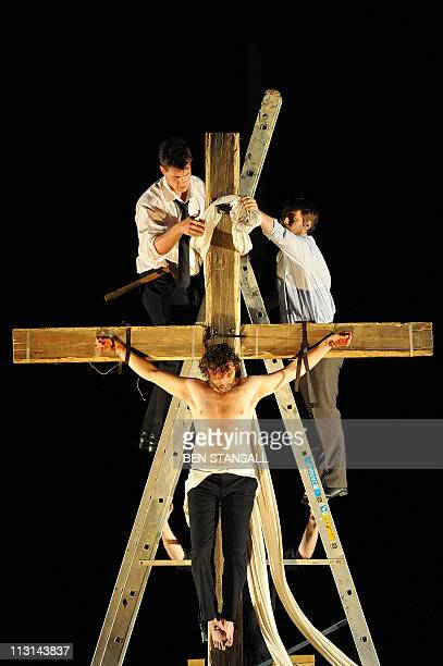 """British actor, Michael Sheen is crucified during a theatre production entitled """"The Passion"""" in the town of Port Talbot in Wales on April 24, 2011...."""