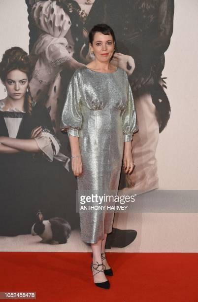 British actor Olivia Colman poses upon arrival for the UK premiere of the film 'The Favourite' during the BFI London Film Festival in London on...