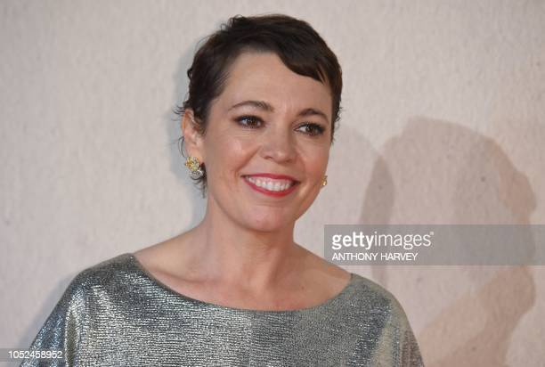 British actor Olivia Colman poses upon arrival for the UK premiere of the film The Favourite during the BFI London Film Festival in London on October...