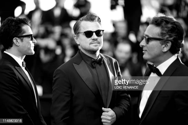 """British actor Orlando Bloom and US actor Leonardo DiCaprio arrive for the screening of the film """"The Traitor """" at the 72nd edition of the Cannes Film..."""