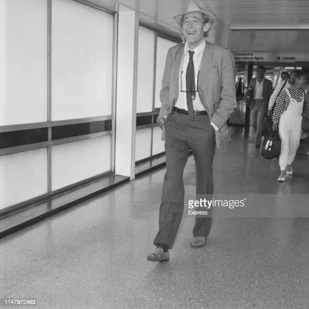 British actor Peter O'Toole at Heathrow Airport, London, UK, 13th July 1984.