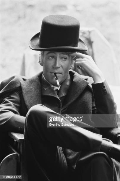 British actor Peter O'Toole in costume as Jack Gurney, 14th Earl of Gurney on the set of the film 'The Ruling Class', UK, August 1971.