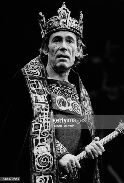 British actor Peter O'Toole in the title role of Shakespeare's Macbeth at the Old Vic, ca. 1980.
