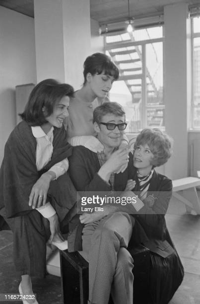 British actor Peter O'Toole with actresses Barbara Jefford Wendy Craig and Yvonne Mitchell rehearsing for the production of 'Ride a Cock Horse'...