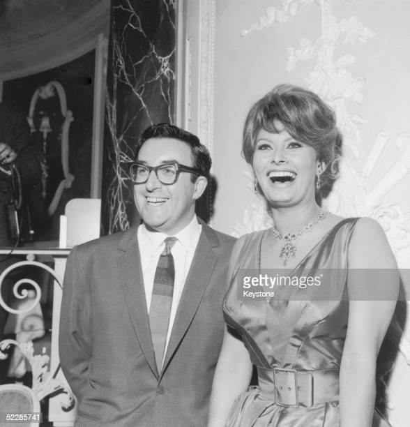 British actor Peter Sellers and Italian actress Sophia Loren attend a press conference at the Ritz Hotel, 18th May 1960. They are about to start...