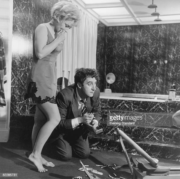 British actor Peter Sellers and Swedish actress Mai Zetterling on the set of the film 'Only Two Can Play' at Shepperton Studios 13th June 1961