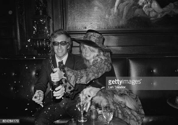 British actor Peter Sellers with his bride Miranda Quarry celebrating at their wedding reception London 25th August 1970