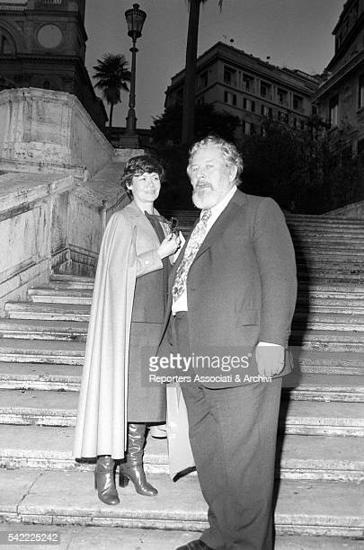 British actor Peter Ustinov and his wife Helene du Lau d'Allemans on the stairs of Trinità dei Monti Rome 12th February 1977
