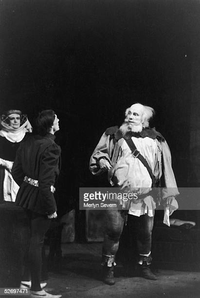 British actor Ralph Richardson as Falstaff and Michael Warre as Prince Henry in the Old Vic's production of William Shakespeare's 'Henry IV' at the...