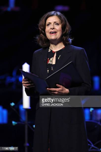 "British actor Rebecca Front reads the poem ""The Action in the Ghetto of Rohatyn, March 1942"" during the UK Holocaust Memorial Day Commemorative..."