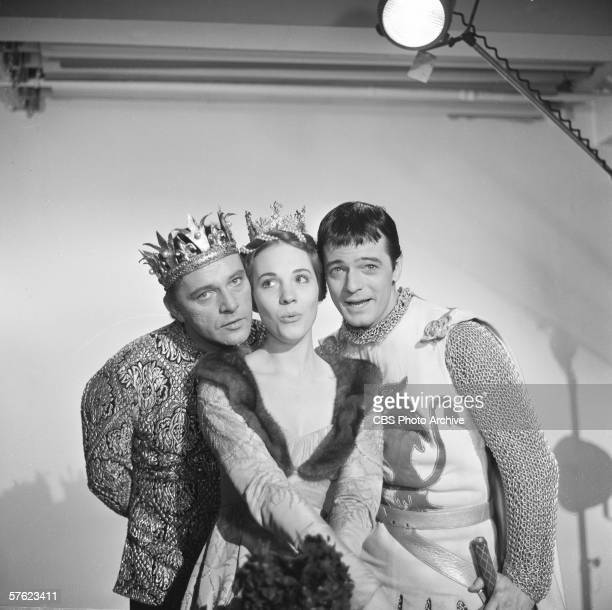 British actor Richard Burton English singer and actress Julie Andrews and American singer and actor Robert Goulet sing under a spotlight on Ed...