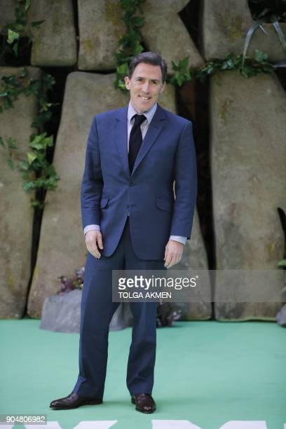 British actor Rob Brydon poses on the carpet arriving to attend the world premiere of the film Early Man in London on January 14 2018 / AFP PHOTO /...