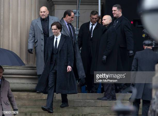 British actor Robert Pattinson and Irish actor Colin Farrell pictured during filming of The Batman movie which is taking place outside St. George's...