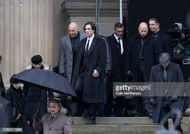 British actor Robert Pattinson pictured during filming of The Batman movie which is taking place outside St. George's Hall, Liverpool, England this...