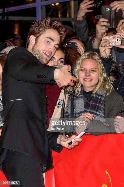 British actor Robert Pattinson with fans during the 'Damsel' premiere during the 68th Berlinale International Film Festival Berlin at Berlinale...