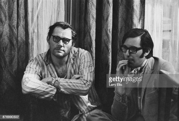 British actor Robert Shaw with American film director William Friedkin on the set of drama film 'The Birthday Party' Shepperton UK 29th March 1968