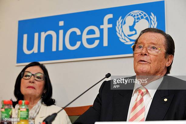 British actor Roger Moore and Greek singer Nana Mouskouri give a press conference in Buehl in the Black Forest on June 7, 2010. They promoted an...
