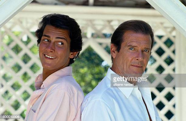 British actor Roger Moore and his son Geoffrey.
