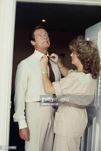 British actor Roger Moore and his wife Italian actress Luisa Mattioli