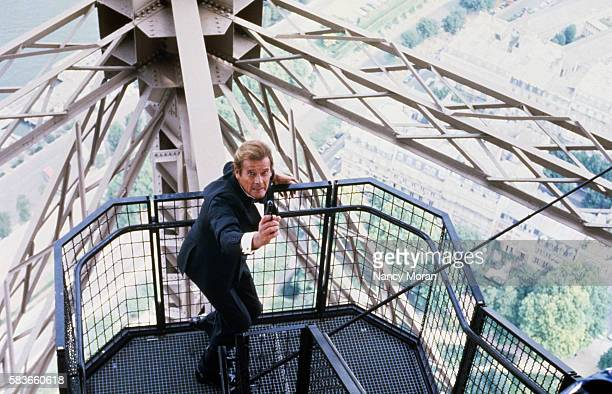 British actor Roger Moore on the set of the James Bond 007 film A View to a Kill directed by John Glen