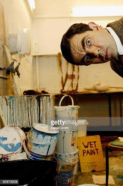 British actor Rowan Atkinson poses for a Comic Relief photo session at the BBC Studios in Shepards Bush London