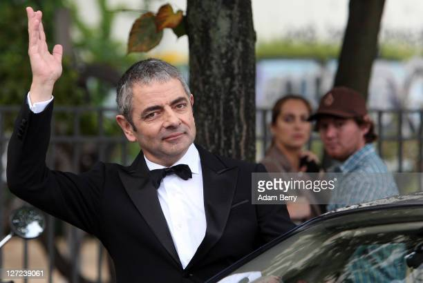 British Actor Rowan Atkinson waves on September 27 2011 in Berlin Germany Atkinson was in Berlin to promote the German release of his James Bond...