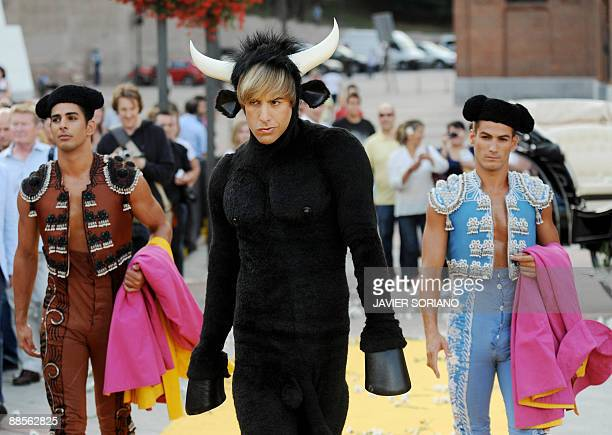 British actor Sacha Baron Cohen arrives dressed as a bull for the presentation of his new film 'Bruno' at Las Ventas bullring in Madrid on June 18...