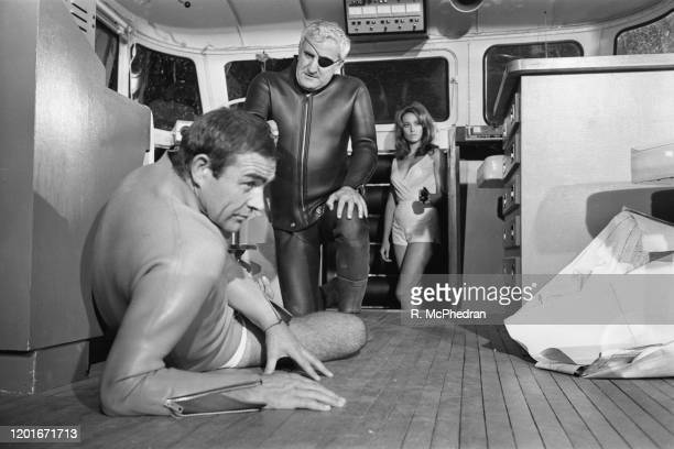 British actor Sean Connery Italian actor Adolfo Celi and French actress Claudine Auger in a scene from the fourth James Bond film 'Thunderball' 1965