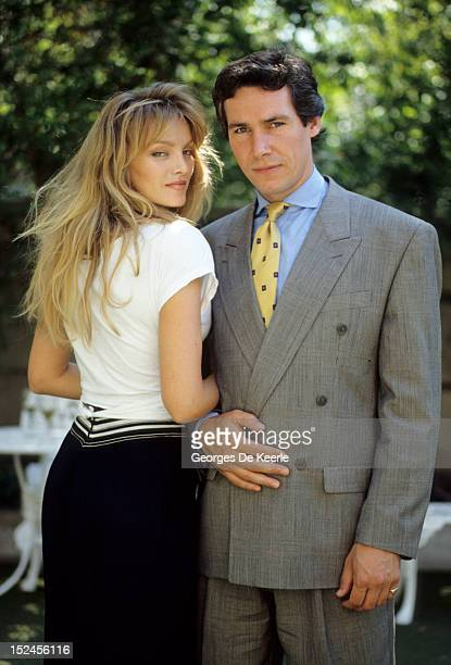 British actor Simon Dutton poses with Arielle Dombasle 1989 circa