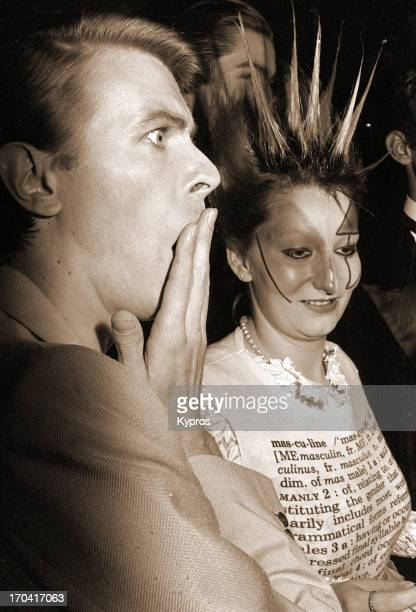 British actor singer and musician David Bowie with model and actress Jordan at a screening of 'Just A Gigolo' at the Cannes Film Festival France 23rd...