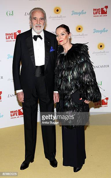 British actor Sir Christopher Lee and his wife Gitte Lee attend the Dreamball 2008 charity gala in the Martin-Gropius Building on September 18, 2008...