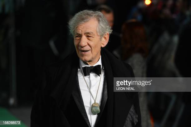 British actor Sir Ian McKellen arrives at the European premiere of the first in the new trilogy of films based on the work of J R R Tolkien The...