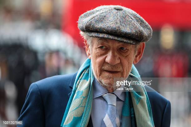 British actor Sir Ian McKellen arrives at Westminster Abbey for a memorial service for theatre great Sir Peter Hall OBE on September 11 2018 in...