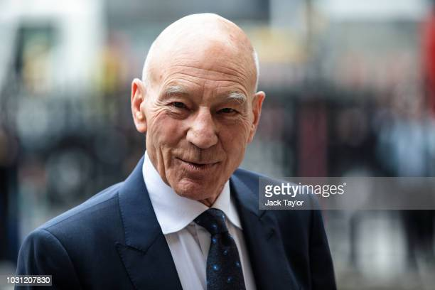 British actor Sir Patrick Stewart arrives at Westminster Abbey for a memorial service for theatre great Sir Peter Hall OBE on September 11, 2018 in...