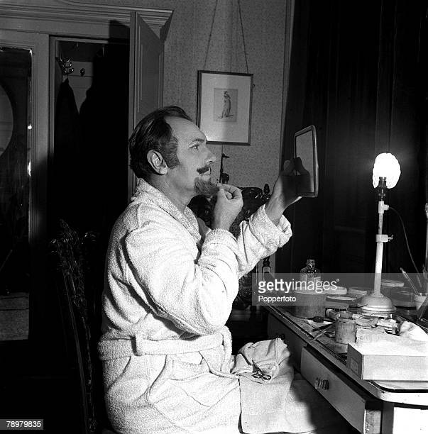 British actor Sir Ralph Richardson making up for his part in the Heiress in his dressing room at the Haymarket Theatre 1949