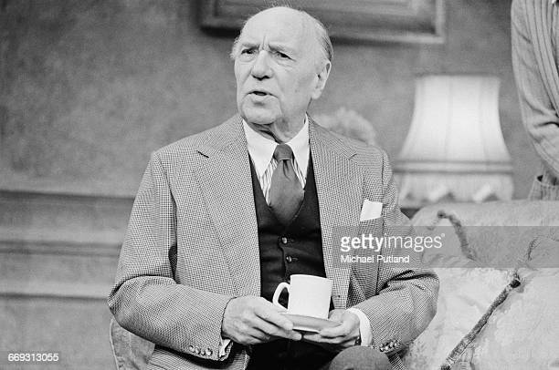 British actor Sir Ralph Richardson performing on stage in Angela Huth's play 'The Understanding' UK 1982